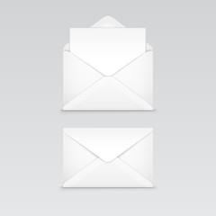 Set of White Blank Envelope Isolated