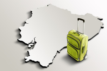 Travel to Ecuador. Green suitcase on 3d map of the country