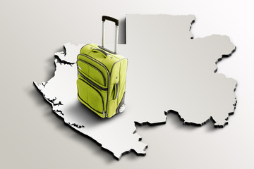 Travel to Gabon. Green suitcase on 3d map of the country