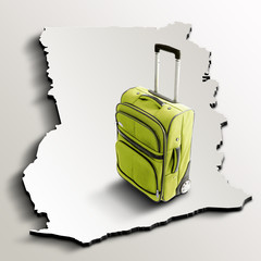 Travel to Ghana. Green suitcase on 3d map of the country