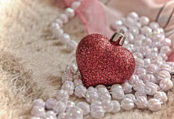 glass heart and beads