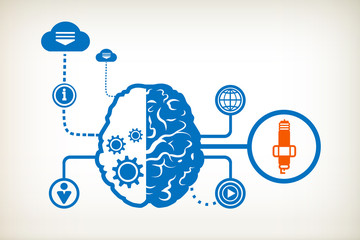 Sparkplug and abstract human brain