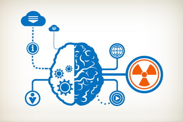 Radiation and abstract human brain