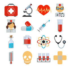 Stock vector medicine flat icon set