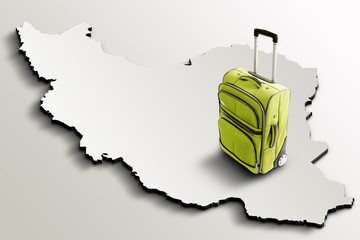 Travel to Iran. Green suitcase on 3d map of the country
