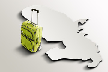 Travel to Martinique. Green suitcase on 3d map of the country