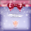 Christmas card with angel and red bow in vector