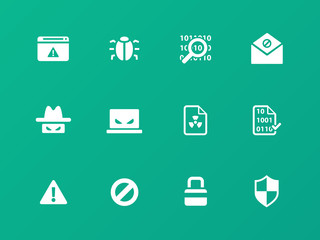 Security icons on green background.