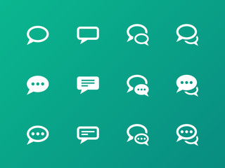 Speech bubble icons on green background.