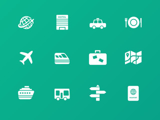 Travel icons on green background.