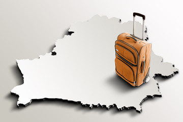 Travel to Belarus. Orange suitcase on 3d map of the country