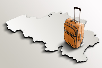 Travel to Belgium. Orange suitcase on 3d map of the country