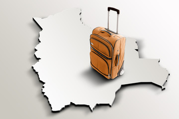 Travel to Bolivia. Orange suitcase on 3d map of the country