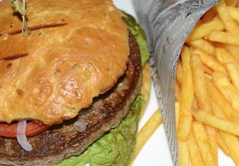 Hamburger and French fries closeup