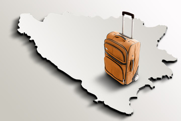 Travel to Bosnia and Herzegovina. Orange suitcase on 3d map