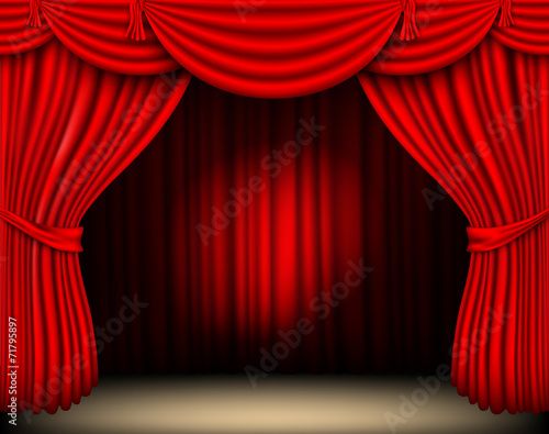 red silk curtain with light