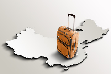 Travel to China. Orange suitcase on 3d map of the country