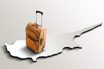 Travel to Cyprus. Orange suitcase on 3d map of the country