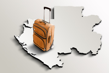 Travel to Gabon. Orange suitcase on 3d map of the country