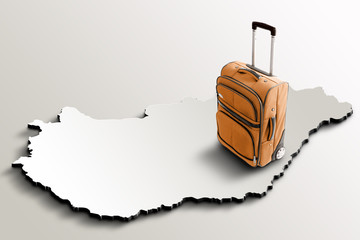 Travel to Hungary. Orange suitcase on 3d map of the country