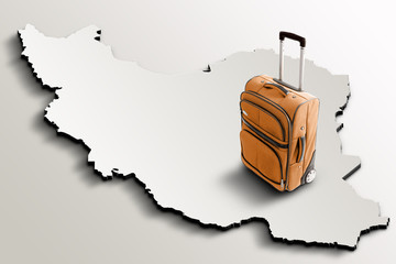 Travel to Iran. Orange suitcase on 3d map of the country