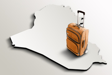 Travel to Iraq. Orange suitcase on 3d map of the country