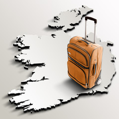 Travel to Ireland. Orange suitcase on 3d map of the country