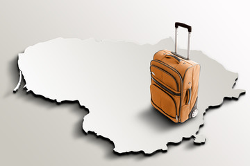 Travel to Lithuania. Orange suitcase on 3d map of the country