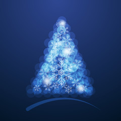Bokeh Christmas Tree with Snow Flake