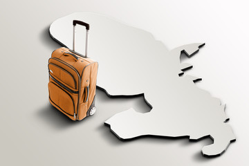 Travel to Martinique. Orange suitcase on 3d map of the country