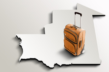 Travel to Mauritania. Orange suitcase on 3d map of the country