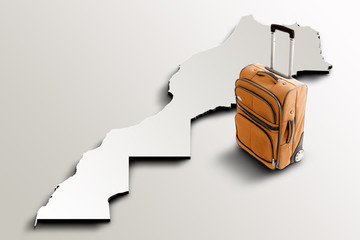 Travel to Morocco. Orange suitcase on 3d map of the country