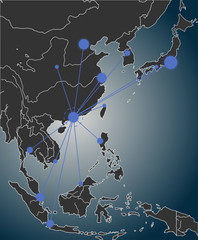 Map of East Asia of business concept