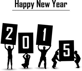 silhouette of happy new year 2015 concept