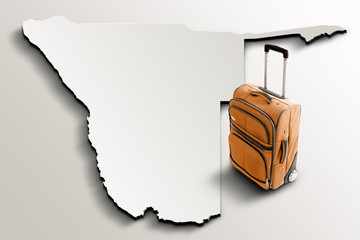 Travel to Namibia. Orange suitcase on 3d map of the country