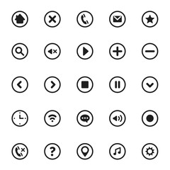 Vector Mobile User Interface Pictograms and Symbols Set