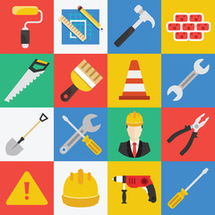 Vector flat working tools icons set.