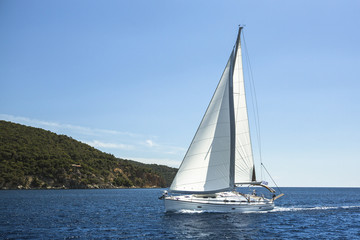 Sailing in the Aegean Sea. Luxury yachts.