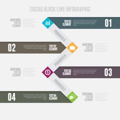 Zigzag Block Line Infographic