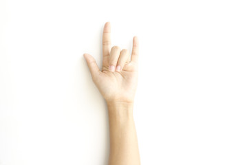woman hand sign I love you symbol