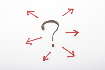 question mark with arrow