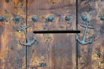 Old Wooden Door with Mail Slot