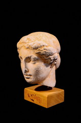 Head of the Ancient Greek Statue Isolated