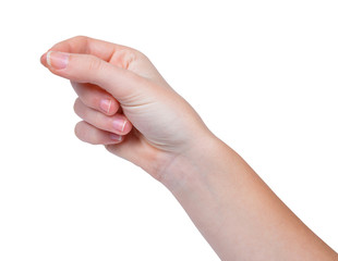 Woman hand hold virtual business card.