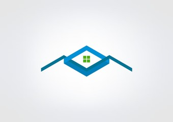 logo Business Icon House Kube Home green Triangle.zip