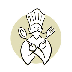 Chef Holding Spoon and Fork