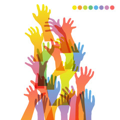 hands of different colors. vector illustration