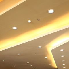 interior of light on ceiling modern design with sprinkler fire s