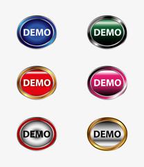 Demo sticker icon vector set