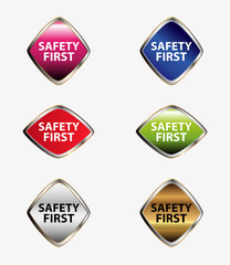 Safety first tag button set